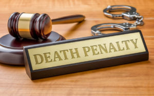A gavel and name plate for the deah penalty in west palm beach